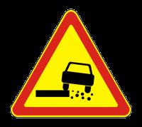 Знак 1.19 Опасная обочина (Временный)